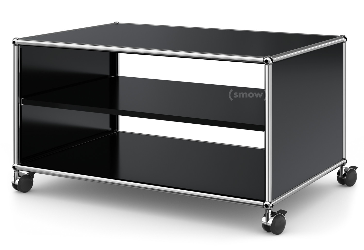 usm haller tv lowboard auf rollen offen graphitschwarz ral 9011 von fritz haller paul. Black Bedroom Furniture Sets. Home Design Ideas