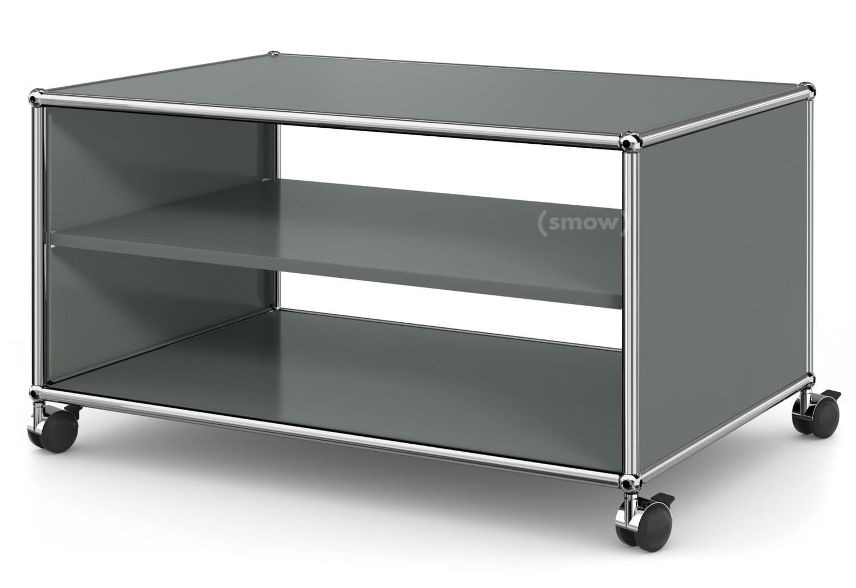Lowboard design klassiker  USM Haller TV-Lowboard auf Rollen, Offen, Mittelgrau RAL 7005 von ...