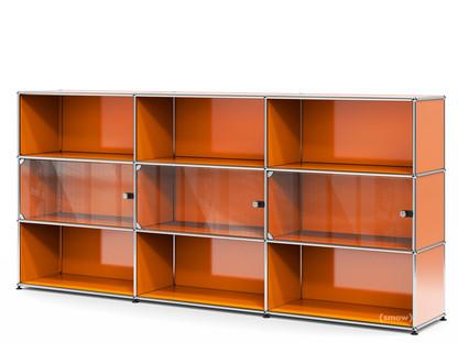 USM Haller Highboard XL mit 3 Glastüren mit Schlossgriff|Reinorange RAL 2004