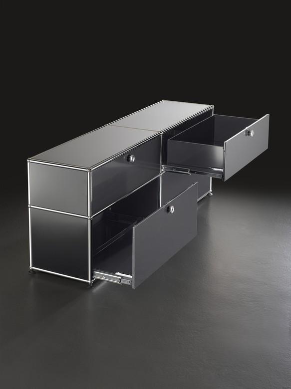 usm haller beistelltisch 50 oben und unten metall graphitschwarz ral 9011 von fritz haller. Black Bedroom Furniture Sets. Home Design Ideas