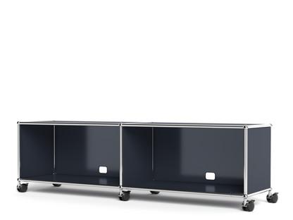 USM Haller TV-/Hi-Fi-Lowboard, individualisierbar Anthrazitgrau RAL 7016|Mit 2 Klappen|Mit Kabeldurchlass unten mittig
