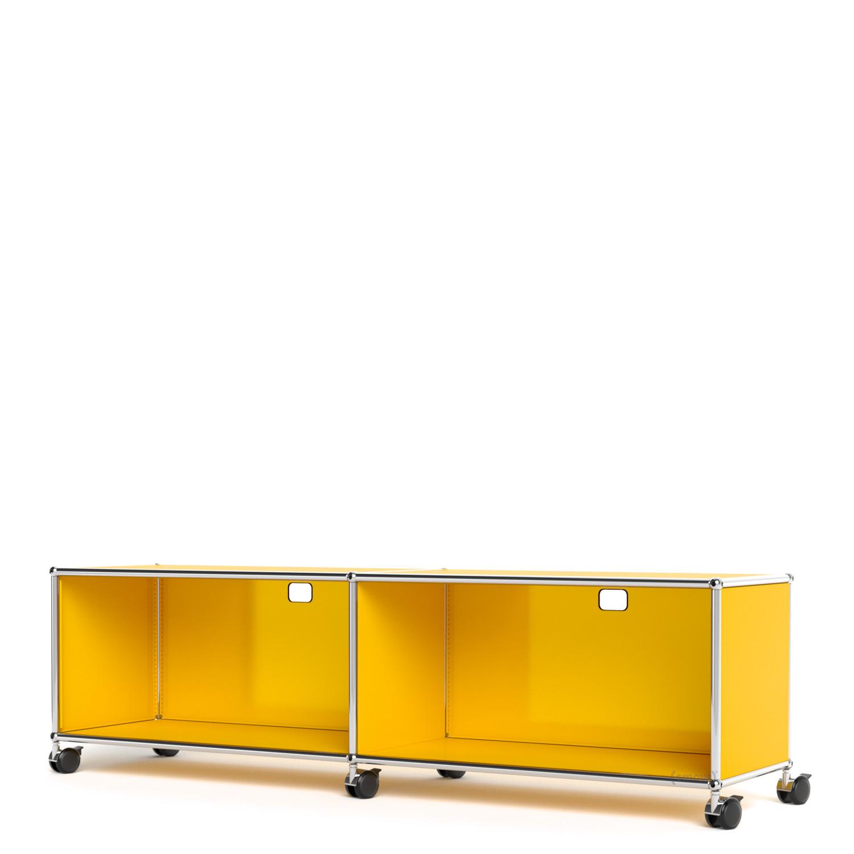 usm haller tv hi fi lowboard individualisierbar goldgelb ral 1004 mit 2 klappen mit. Black Bedroom Furniture Sets. Home Design Ideas