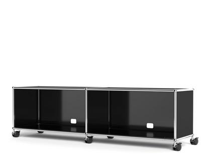 USM Haller TV-/Hi-Fi-Lowboard, individualisierbar Graphitschwarz RAL 9011|Offen|Mit Kabeldurchlass unten mittig