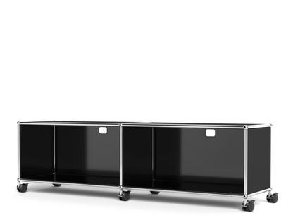 USM Haller TV-/Hi-Fi-Lowboard, individualisierbar Graphitschwarz RAL 9011|Mit 2 Klappen|Mit Kabeldurchlass oben mittig