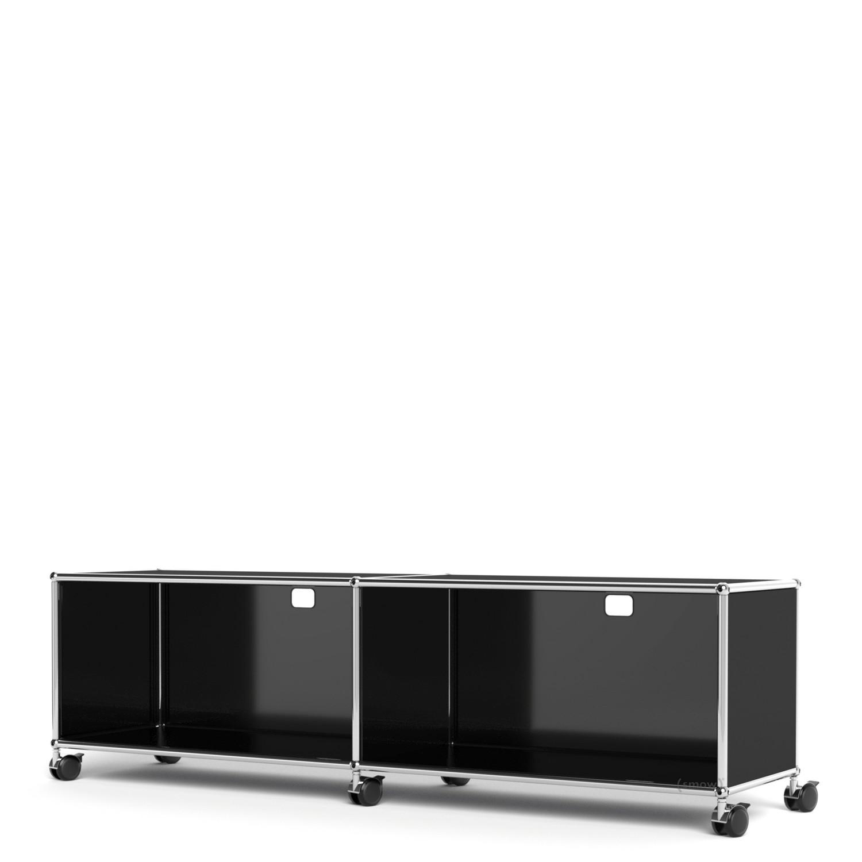 usm haller tv hi fi lowboard individualisierbar graphitschwarz ral 9011 mit 2 klappen mit. Black Bedroom Furniture Sets. Home Design Ideas