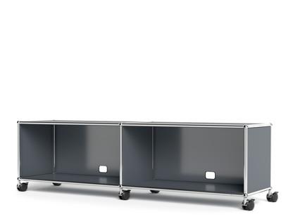 USM Haller TV-/Hi-Fi-Lowboard, individualisierbar Mittelgrau RAL 7005|Mit 2 Klappen|Mit Kabeldurchlass unten mittig
