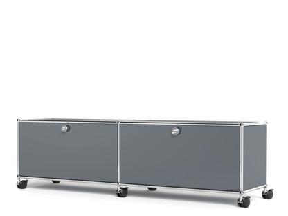 USM Haller TV-/Hi-Fi-Lowboard, individualisierbar Mittelgrau RAL 7005|Mit 2 Klappen|Ohne Kabeldurchlass