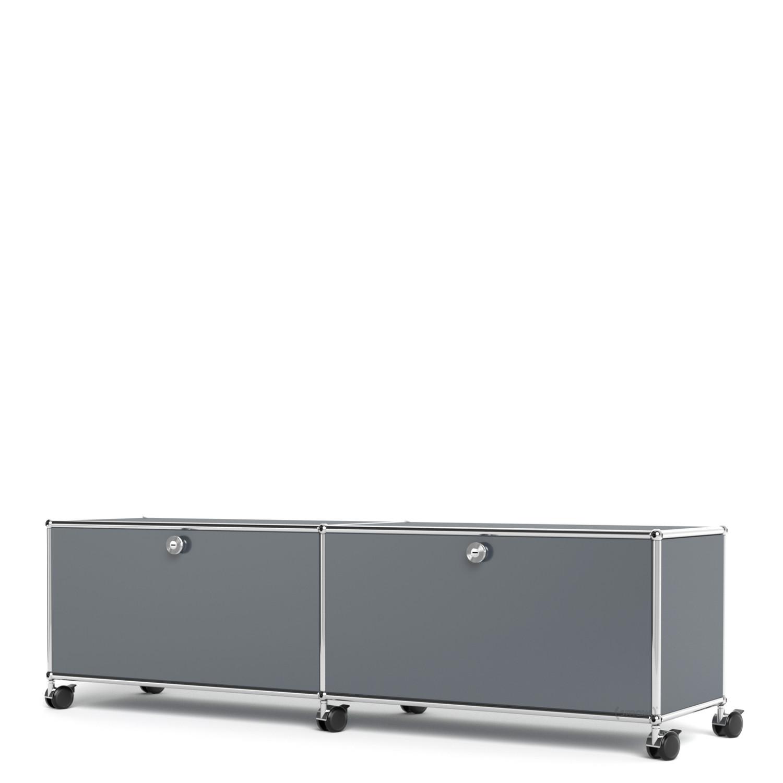 usm haller tv hi fi lowboard individualisierbar mittelgrau ral 7005 mit 2 klappen ohne. Black Bedroom Furniture Sets. Home Design Ideas