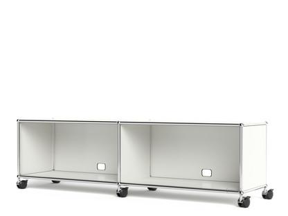 USM Haller TV-/Hi-Fi-Lowboard, individualisierbar Reinweiß RAL 9010|Offen|Mit Kabeldurchlass unten mittig