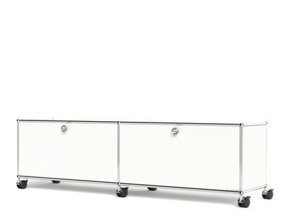 USM Haller TV-/Hi-Fi-Lowboard, individualisierbar Reinweiß RAL 9010|Mit 2 Klappen|Ohne Kabeldurchlass