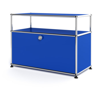 USM Haller Lowboard M mit Aufbau, individualisierbar Enzianblau RAL 5010|mit Klappe|Ohne Kabeldurchlass