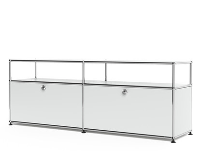USM Haller Lowboard L mit Aufbau, individualisierbar USM mattsilber|Mit 2 Klappen|Mit Kabeldurchlass unten mittig
