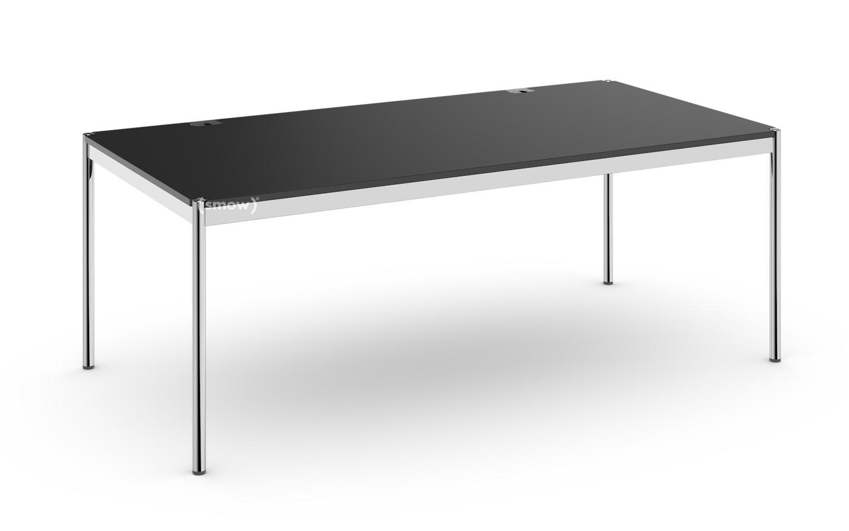 Super USM Haller Tisch Plus, 100 x 200 cm, 41-Lino schwarz, Ohne Klappe JK48