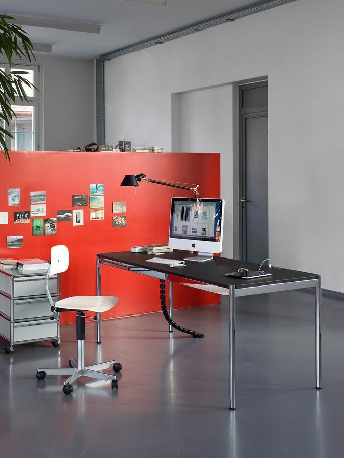 usm haller tisch plus 100 x 200 cm 41 lino schwarz ohne. Black Bedroom Furniture Sets. Home Design Ideas