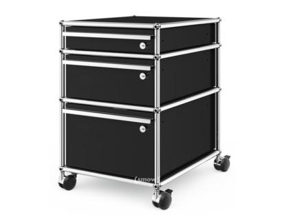 USM Haller Rollcontainer mit 3 Schubladen Typ II (mit Gegengewicht) Alle Fächer mit Schloss|Graphitschwarz RAL 9011