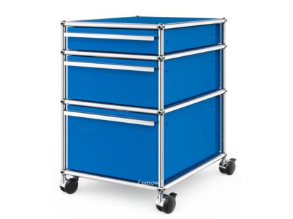 USM Haller Rollcontainer mit 3 Schubladen Typ II (mit Gegengewicht) Kein Schloss|Enzianblau RAL 5010