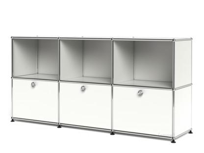 USM Haller Sideboard 50, individualisierbar Reinweiß RAL 9010|Offen|Mit 3 Klappen