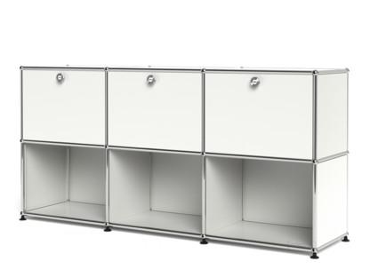 USM Haller Sideboard 50, individualisierbar Reinweiß RAL 9010|Mit 3 Klappen|Offen