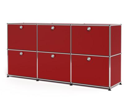 USM Haller Sideboard 50, individualisierbar USM rubinrot|Mit 3 Klappen|Mit 3 Klappen