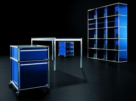 usm haller storage unit with 3 angled shelves by fritz haller paul sch rer designer. Black Bedroom Furniture Sets. Home Design Ideas