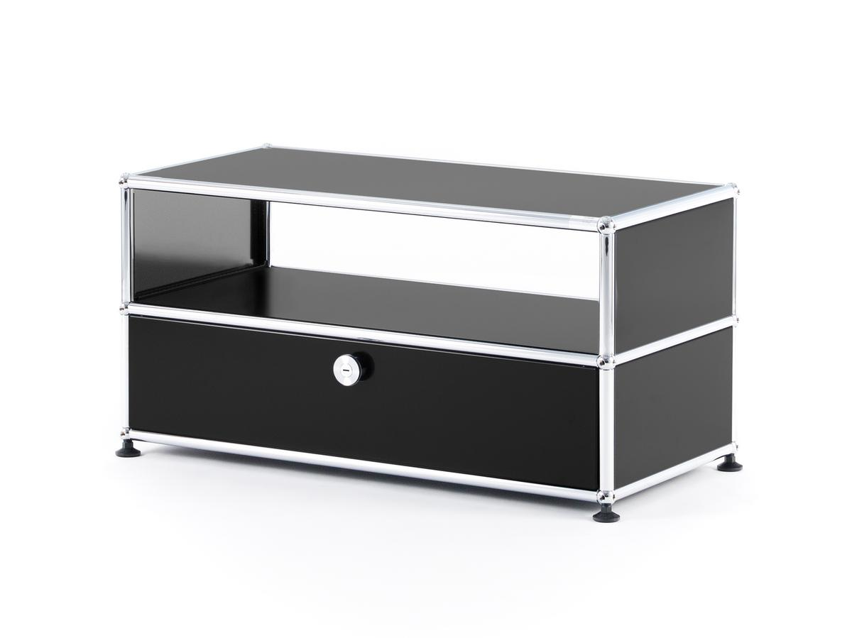 usm haller tv bank graphitschwarz ral 9011 von fritz. Black Bedroom Furniture Sets. Home Design Ideas