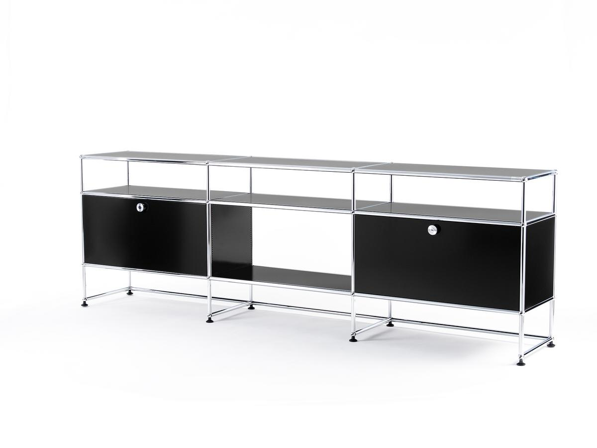 usm haller tv board xl graphitschwarz ral 9011 von fritz. Black Bedroom Furniture Sets. Home Design Ideas