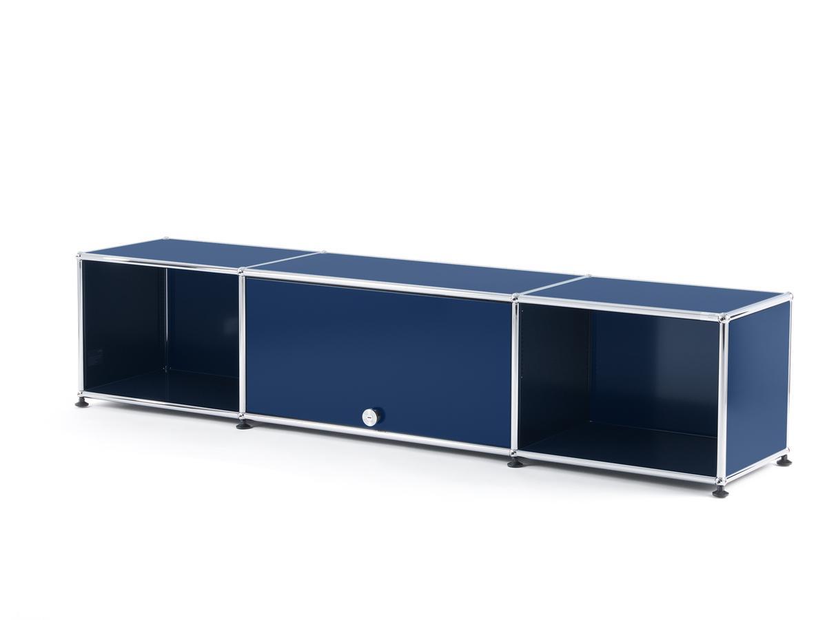 usm haller tv lowboard mit einschubt r stahlblau ral 5011 von fritz haller paul sch rer. Black Bedroom Furniture Sets. Home Design Ideas