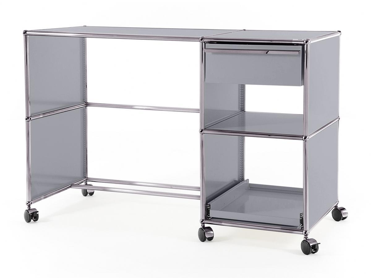 usm haller schreibtisch auf rollen typ 2 usm mattsilber. Black Bedroom Furniture Sets. Home Design Ideas