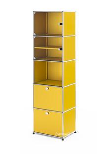 USM Haller Vitrinenschrank Einfach (H 179 x B 53 x T 38 cm)|Goldgelb RAL 1004|Alle Fächer mit Schloss