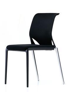 Meda Slim Ohne Armlehnen Untergestell Aluminium verchromt (stapelfähig) Sitz Nova, Rücken Netline Nero Nero