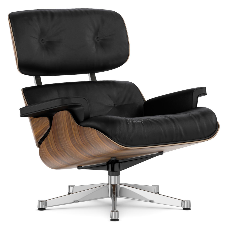 Lounge Chair Nussbaum Schwarz Pigmentiert|Nero|89 Cm|Aluminium Verchromt