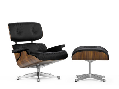 Lounge Chair & Ottoman Classic Version|Nussbaum schwarz pigmentiert|Nero|89 cm|Aluminium poliert