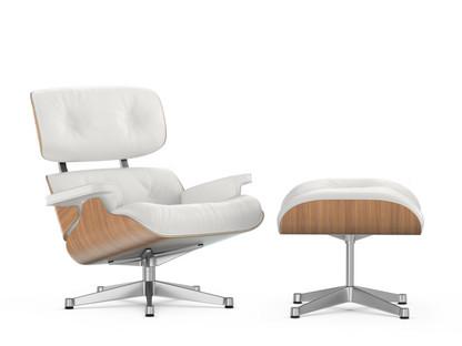 Lounge Chair & Ottoman White Version Nussbaum weiß pigmentiert Snow 89 cm Aluminium poliert