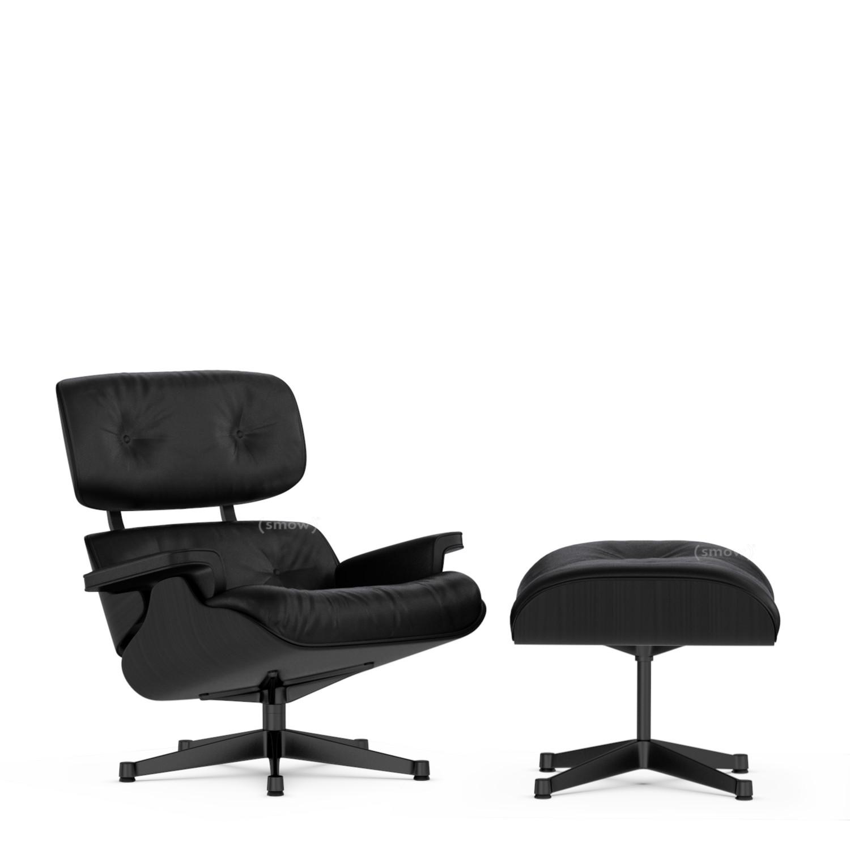 vitra lounge chair ottoman black version esche schwarz. Black Bedroom Furniture Sets. Home Design Ideas