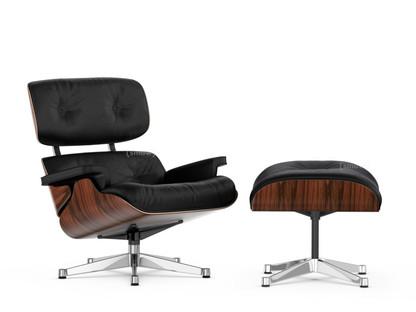 Lounge Chair & Ottoman Classic Version Santos Palisander Nero 84 cm - Originalhöhe 1956 Aluminium verchromt