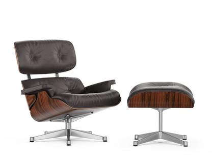 Lounge Chair & Ottoman Classic Version|Santos Palisander|Chocolate|89 cm|Aluminium poliert