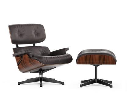 Lounge Chair & Ottoman Classic Version|Santos Palisander|Chocolate|89 cm|Aluminium poliert, Seiten schwarz