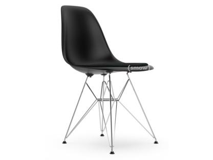 DSR Tiefschwarz|Mit Sitzpolster|Nero|Standardhöhe - 43 cm|Verchromt