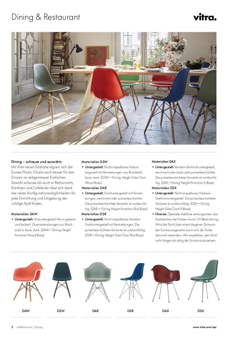 Vitra Eames Plastic Armchair DAR, Ocean, Without upholstery, Without ...