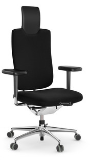 HeadLine Bürodrehstuhl Mit lederbezogenen Armlehnen Aluminiumfuß und Rückgrat poliert Sitz und Rücken Skin, Haube Leder Nero
