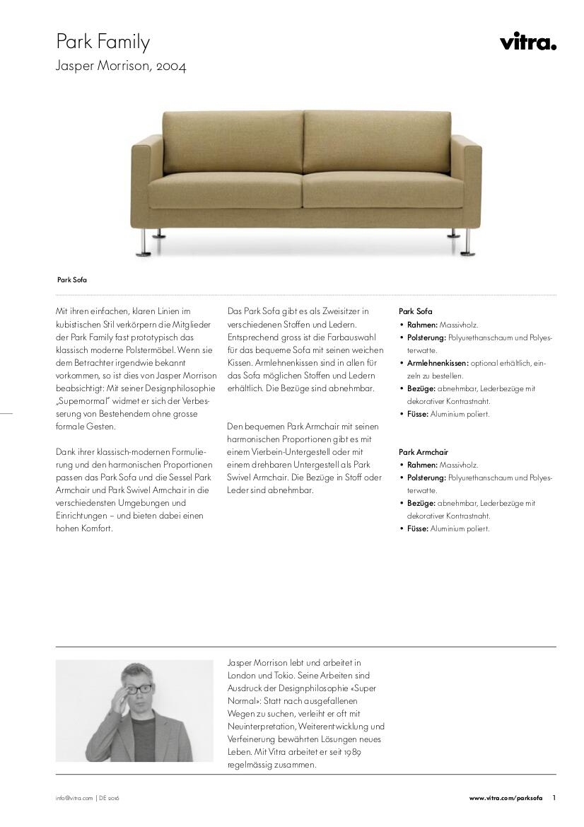 Vitra Park Sofa by Jasper Morrison, 2004 - Designer furniture by ...