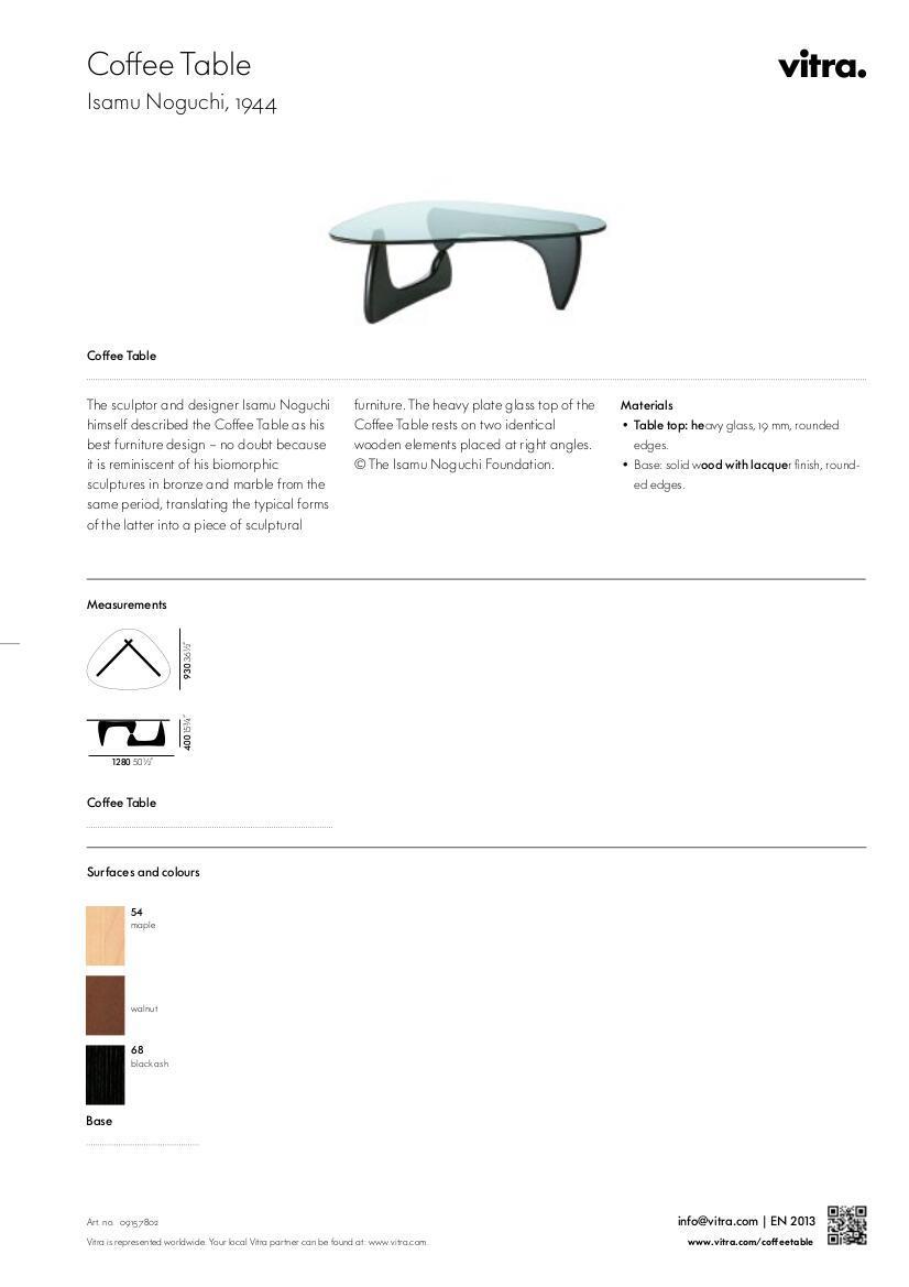 Vitra Coffee Table by Isamu Noguchi 1944 Designer furniture by