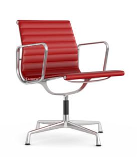 Aluminium Chair EA 107 / EA 108 EA 107 - nicht drehbar|Poliert|Leder|Rot
