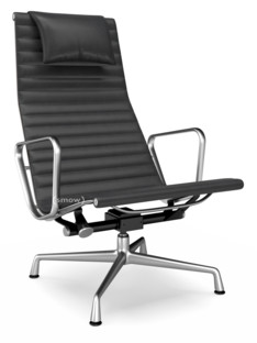 Aluminium Chair EA 124 Poliert|Leder|Asphalt
