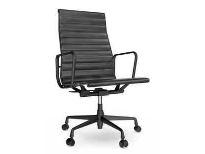 Aluminium Chair EA 119 Aluminium pulverbeschichtet tiefschwarz|Leder|Nero