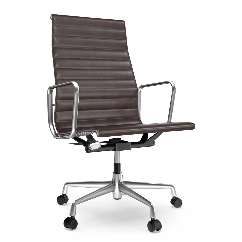 Vitra Aluminium Chair Ea 119 Poliert Leder Chocolate Von Charles