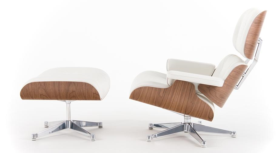 vitra lounge chair white version by charles ray eames 1956