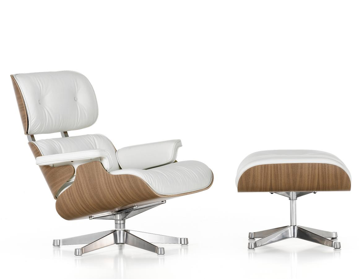 vitra lounge chair ottoman white version 89 cm von charles ray eames 1956. Black Bedroom Furniture Sets. Home Design Ideas