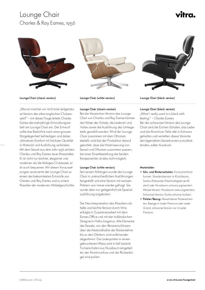 Vitra lounge chair amp ottoman white version von charles amp ray eames - Product Family Eames Lounge Chairs Datasheet Click For More Information Ca 0 4 Mb