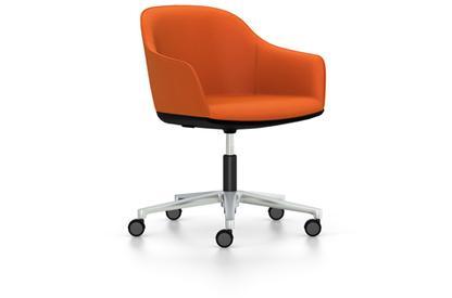 Softshell Chair auf Fünfsternfuß Aluminium poliert|Plano|orange